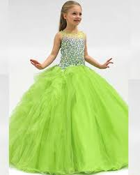 ball gown flower dresses for birthday crystal kids frock
