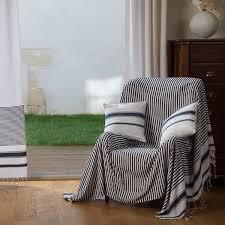 jetee de canapé jeté de canapé rectangulaire blanc avec des rayures bleu roi en