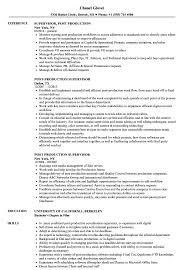 Download Post Production Supervisor Resume Sample As Image File