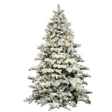 Flocked Alaskan 9 White Spruce Trees Artificial Christmas Tree With 900 LED Stand