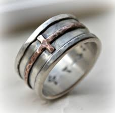 Mens Cross Wedding Band Rustic Hammered
