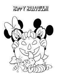 Mickey Mouse And Halloween Pumpkin Coloring Page