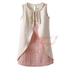 2016 New Design Baby Girl Princess Flower Dress Fake 2 Piece Elegant Summer