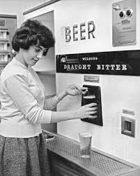 A Woman Getting Pint Of Draught Bitter From Vending Machine Circa 1960s