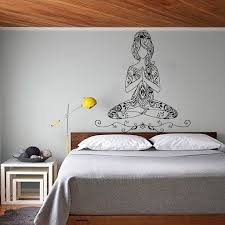 Wall Decals Yoga Lotus Pose Vinyl Sticker Bohemian Wedding Decal Words Gym Decor Home Interior Design