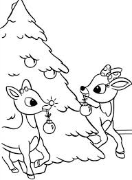 Rudolph And Clarice Decorated Christmas Tree Coloring Page