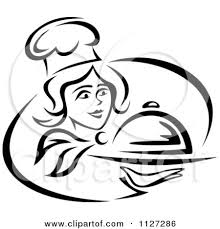 Black And White Happy Female Chef Serving A Cloche Platter