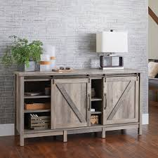 TV Stand Cabinet Rustic Farmhouse Sliding Barn Door Gray 60