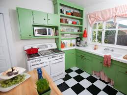 Small Vintage Kitchen Flooring Ideas Green Painted Cherry Wood Cabinets With White Marble Stove Black