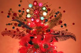 Feather And Floral Pick Tree Topper A Pink Now Unconventional Colorful Christmas Trees