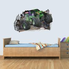100 Monster Truck Bedroom Vinyl Wall Smashed 3D Art Stickers Of Poster