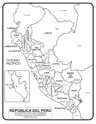 Mapa De Perú Con Departamentos Y Capitales Para Colorear
