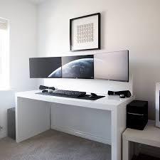 by jespyy desk 3x dell u2414h monitors xbox one lunar white