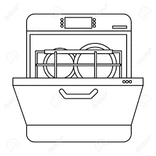 Dishwasher Icon In Outline Style Isolated On White Background Kitchen Symbol Vector Illustration Stock