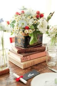 Books Glass Vintage Tins And Flowers Love This Idea For A Centerpiece