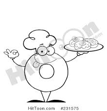 Coloring Page Outline Of A Donut Character Wearing Chef Hat And Serving Donuts 231575