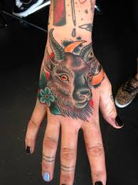 La Familia Newquay Dan Hague Goat Colour Bold Gothic Flower Moon Hand Tattoo