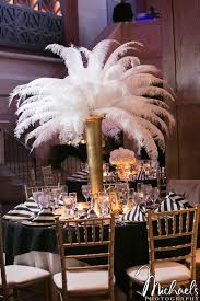 Beautiful Blooms Michaels Photography Union Trust Wedding Feather Centerpiece Black And White Stripe Gold Ivory