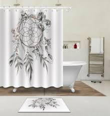 shower curtain waterproof fabric bathroom mat boho