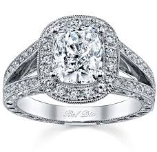 Antique Style Split Shank Cushion Cut Halo Engagement Ring