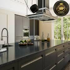 details zu moderne landhausküche ariane massivholz küche mit insel schwarz meterpreis