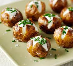 baked canapes mini jacket potatoes recipe food