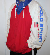 Vintage Polo Sport Ralph Lauren Red White Blue Spell Out Light Cotton Jacket Size XL