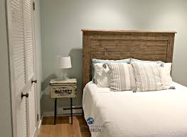 Sherwin Williams Sea Salt Best Green Blue Paint Colour In Guest Bedroom With Wood Headboad Kylie M E Design