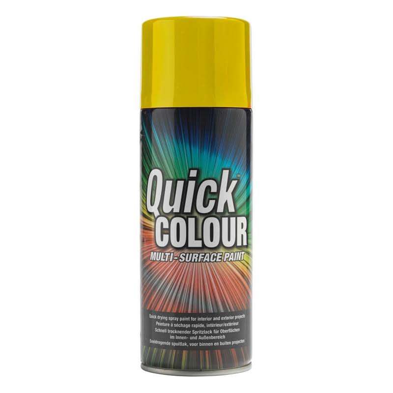 Quick Colour Spray Paint Gloss Yellow 400ml (5743V)