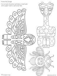Totem Pole Collage Pieces HistoryGeography Art Plastique Art