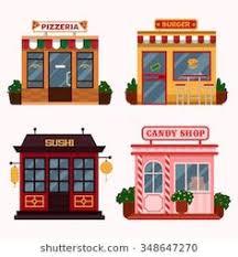 Vector Illustration Of Buildings That Are Restaurants Cafe Fast Food Italian Pizzeria