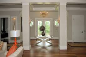 Modern The Subtle Lines On Walls And Columns Add Visual Interest To Light Taupe Paint