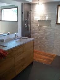 Cool Design Modern Bathroom Ideas Features Brown Teak Shower Floor Wood