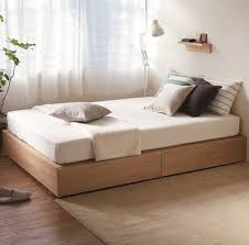 HD]Oak Storage Bed Single