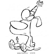 birthday cupcake coloring page printable vector of a cartoon lonely dog with outline by birthday cupcake