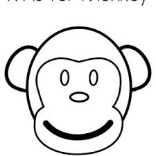 Monkey Face Coloring Page Clipart