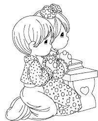 Children Praying Coloring Picture For Kids