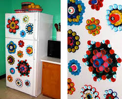 Colorful Art And Crafts For Kids Fridge Door Decorating With Plastic Bottle Caps
