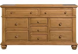 Round Handle Square Brown Varnished Wooden Case Light Wood Dresser