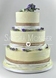 Rustic Wedding Cake With Hessian Ribbon And Lavender