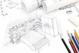zeichnen sie innenskizze für wohnzimmer und mechanischen