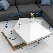 deuba couchtisch hochglanz weiß 360 drehbar cube design modern 76x76cm wohnzimmertisch lounge tisch sofatisch