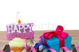 e cupcake with candle burning happy birthday and ift box isolated on white background Stock