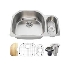 Ipt Stainless Steel Sinks by Karran Undermount Stainless Steel 32 In 40 60 Double Bowl Kitchen