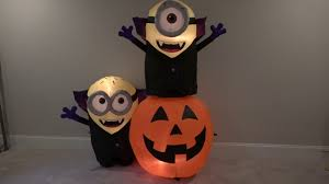 Halloween Airblown Inflatables by Gemmy Halloween Airblown Inflatable Minions With Pumpkin Scene