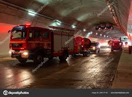 100 Fire Lights For Trucks Trucks Entering A Large Tunnel With Red Lights For Rescue