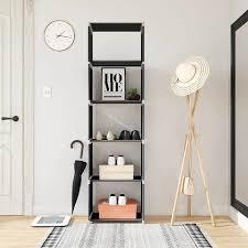 standregal bücherregal lagerregal regale belastbarkeit jedes bodens 5 kg für küche flur keller oder arbeitszimmer 50 x 180 x 30 cm schwarz lsn15h