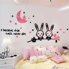 Cartoon Cute Bunny 3d Wall Stickers Childrens Room Kindergarten Bedroom Bedside Background Decoration
