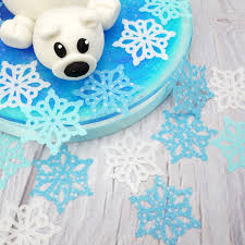 Large Blue And White Wafer Snowflakes Cupcake Toppers Pack Of 12