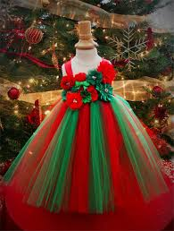 Girls Christmas Dress Tree Style Childrens Red And Green Combination Suitable